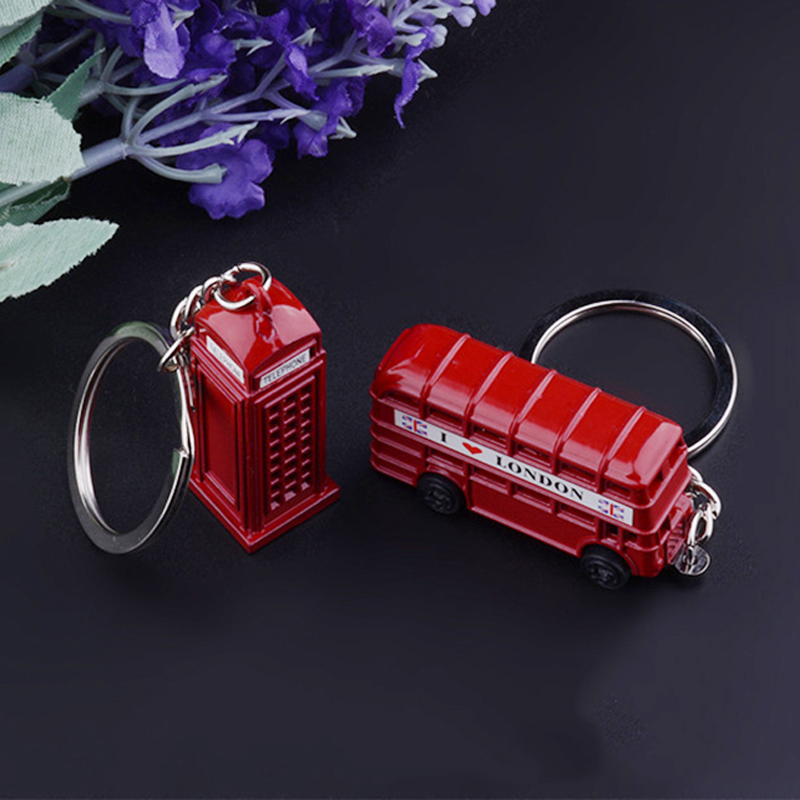 New London Red Bus Key Chain Post Mail Box Key Holder Telephone Booth Charm Pendant Keychain For Men Women Party Gift Key Ring