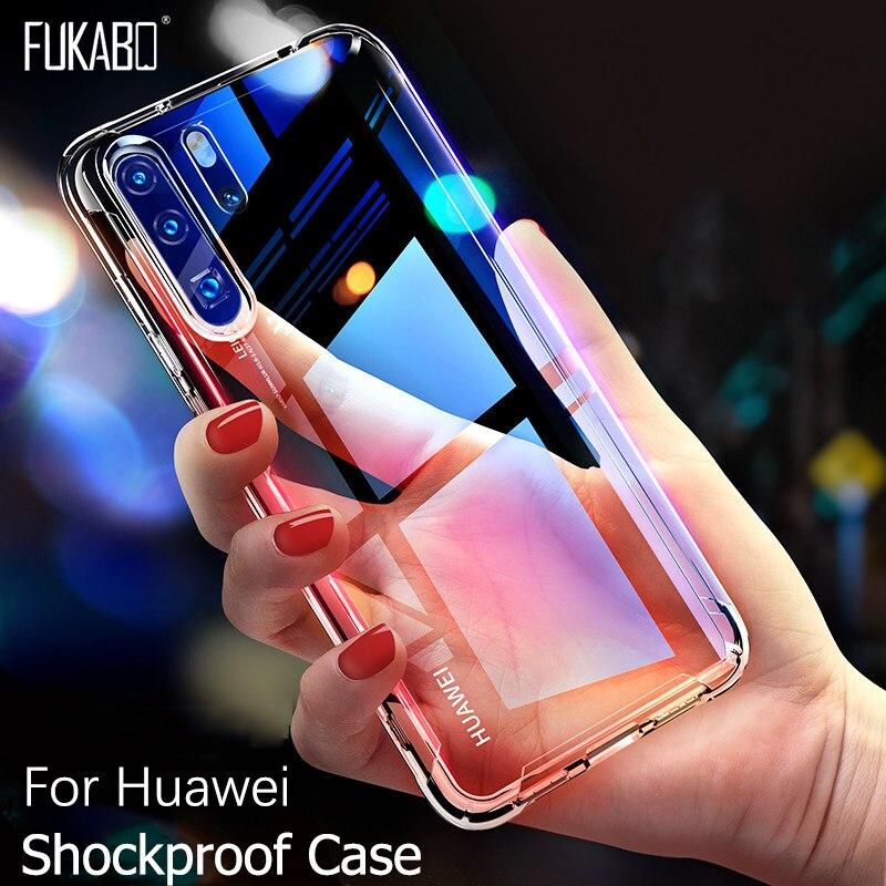 Custodia Cover Trasparente Vetro Temperato per Huawei SMART P8 LITE P Y7 Y6 2018 Y9 2019