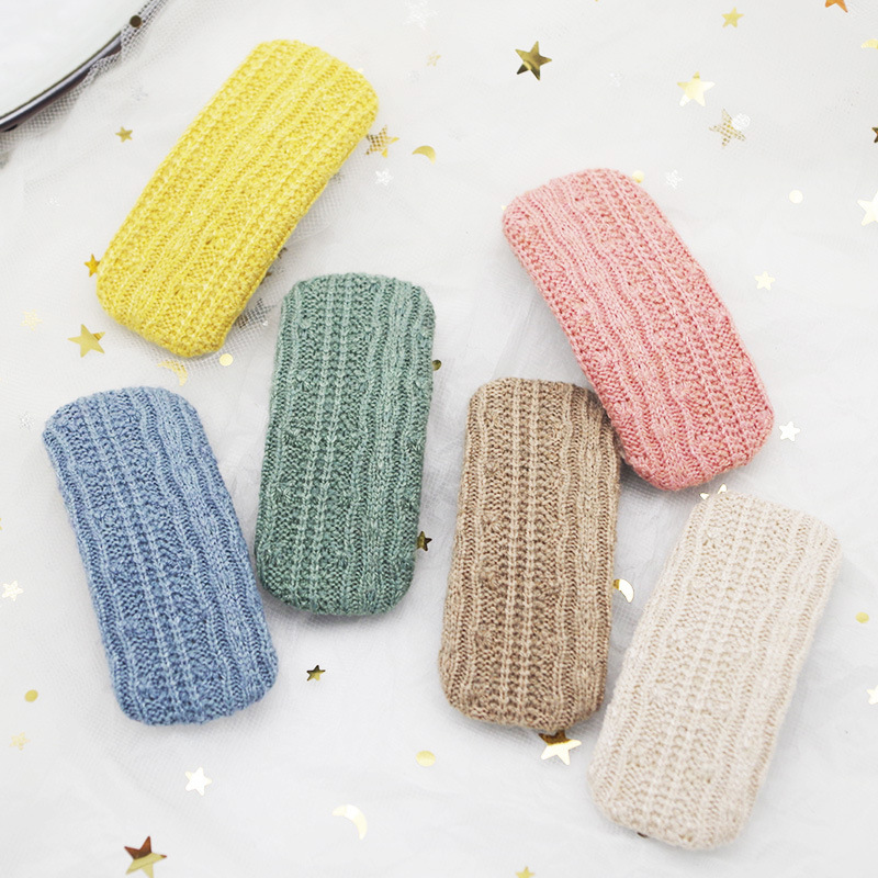Korea Autumn And Winter Simple Small Fresh Wool Knitted BB Clip Sweet Fashion Girl Princess Hairpins Hair Accessories 2*6.5cm
