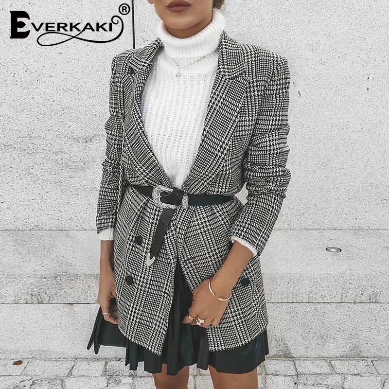 Everkaki Boho Plaid Print Suit Coat Women Blazers