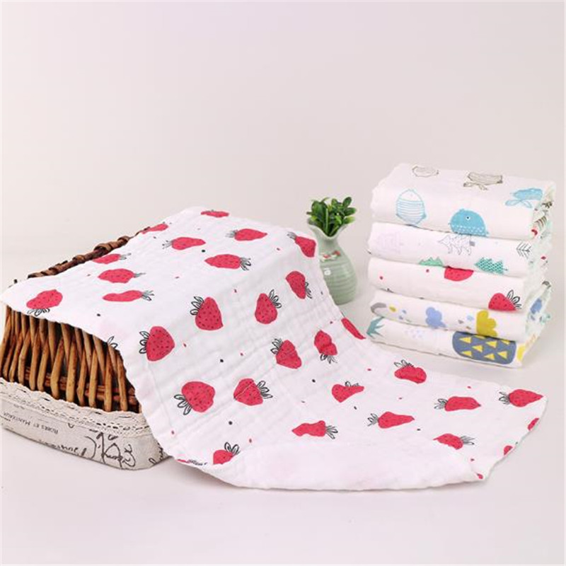 Printing Baby Kids Towel 6 Layers Gauze Soft Face Towel Rectangle Cotton Blends Absorbent Baby Bath Towel Washcloth
