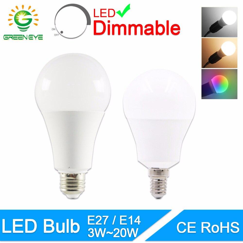 Светодиодный светильник GreenEye с регулируемой яркостью E27, E14, 220 В, 240 в, Smart IC, реальная мощность 20 Вт, 18 Вт, 15 Вт, 12 Вт, 9 Вт, 5 Вт, 3 Вт, светодиодный с...