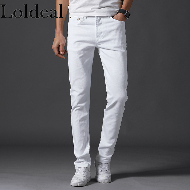 Loldeal Men's Jeans New Slim Solid Color Straight Denim Washed