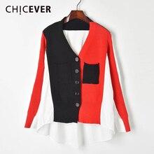 パッチワークヒットカラーの女性のセーター長袖 ネックポケットオーバーサイズカーディガン女性のセーター 2020 Chicever
