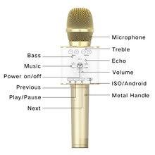 Altın rengi Tosing 04 yeni kablosuz Karaoke mikrofonu hoparlör BT4.2 2 in 1 el Sing kayıt taşınabilir KTV mikrofon