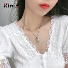 Kinel Настоящее серебро 925 пробы длинный свитер цепочка ожерелья