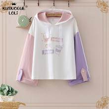 하라주쿠 Japanese Kawaii Teens Hoodies 귀여운 우유 고양이 만화 여성 Hoody 운동복 Mori Vintage Junior Girl Tops Sweet Clothes(China)