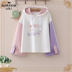 Harajuku Japanese Kawaii Teens Hoodies Cute Milk Cat Cartoon Women Hoody Sweatshirt Mori Vintage Junior Girl Tops Sweet Clothes
