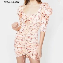 Knee-Length Dress Puff-Sleeve Satin Pleated-Ruched Floral-Print Hollow-Out V-Neck Women