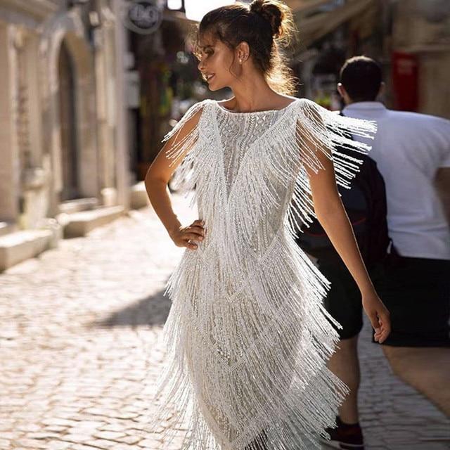 1920s Diamond Sequined Embellished Fringed Great Gatsby Flapper Dress Retro Tassle Croche Midi Party Dress Ukraine Vestidos#J30 1