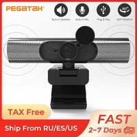 Cámara Web con altavoz para ordenador Webcam de 1080p con micrófono, cámara de PC, Full HD, 1080p, Usb, cubierta para cámara Web