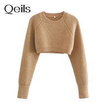 Qeils feminino 2021 moda recortada camisola de malha vintage o pescoço manga longa pullovers chiques topos