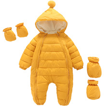 2021 Newborn Baby Jumpsuit Hooded Plus Velvet Warm Baby Boys Snowsuit Toddler Snow Suit Baby Girl Cotton Overalls Rompers cheap BEEBILLY baby unisex Fashion 0-6m 7-12m 13-24m CN(Origin) Winter 412p Polyester Regular Fits true to size take your normal size