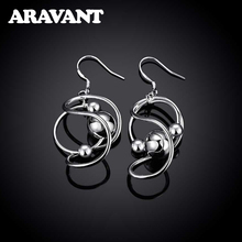 Silver 925 Twist Smooth Bead Hanging Long Drop Earring For Women Fashion Jewelry Gifts
