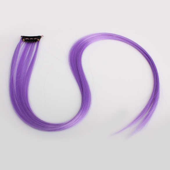 Nuevas extensiones de cabello liso largo Punk para mujer Clip en peluca violeta ci88