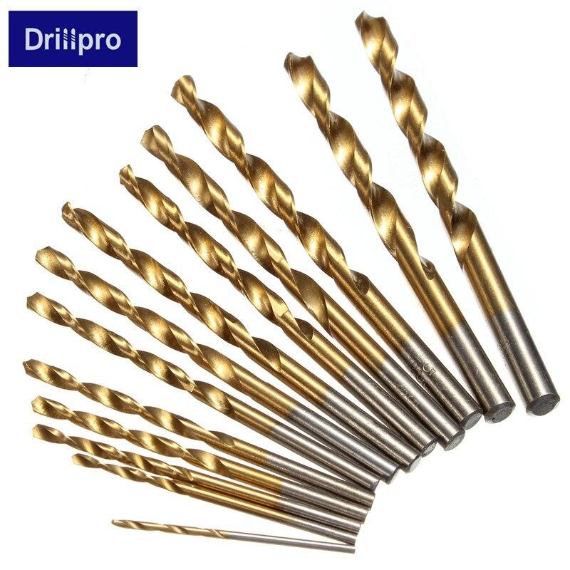 Drillpro 13pcs Hss Titanium Coated Twist Drill Bit Set Shank 1.5-6.5mm Woodworking Tool Metal Drilling High Quality