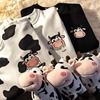 QWEEK Kawaii Cow Print Sweatshirt Women Japanese Harajuku Cute Milk Embroidery Long Sleeve Hoodie Sweatshirt 2021 Fashion Korean 1