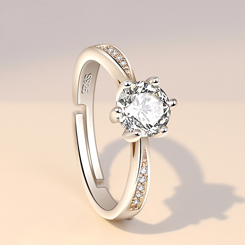 Classic Engagement Ring 6 Claws Design Cubic Zircon 925 Sterling Silver Female Women CZ Crystal Rings Wedding Jewelry