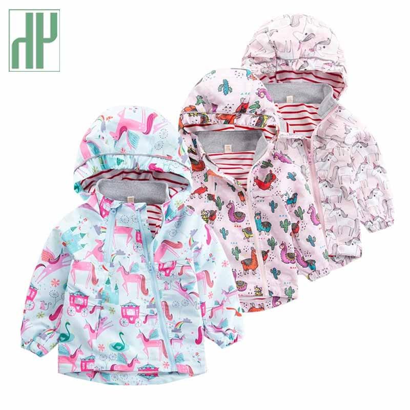 Girls Hooded Windbreaker Children Long Sleeves Outerwear Baby Kids Coat Clothing
