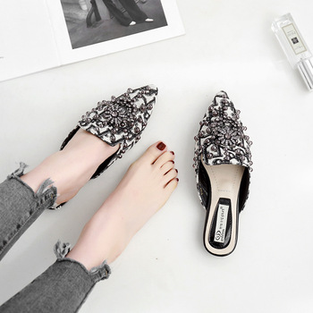 Crystal Women Mules Slip Outdoor Slippers Women Flats Pointed Toe Heel Spring Autumn Shoes Woman Flat Shoes chaussure femme 4