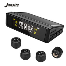 цена на Jansite TPMS Wireless Car Tire Pressure Monitoring Intelligent System Solar Power charge LED Display 4 External Internal Sensors