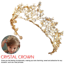 Luxury Pink Gold Pearl Bridal Crowns Handmade Tiara Bride Headband Crystal Wedding Diadem Queen Crown Wedding Hair Accessories