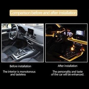 Image 4 - Nastrojowe światła w samochodzie EL neonowa taśma druciana światło RGB wiele trybów App kontrola dźwięku wnętrze auta dekoracyjna lampa neonowa otoczenia