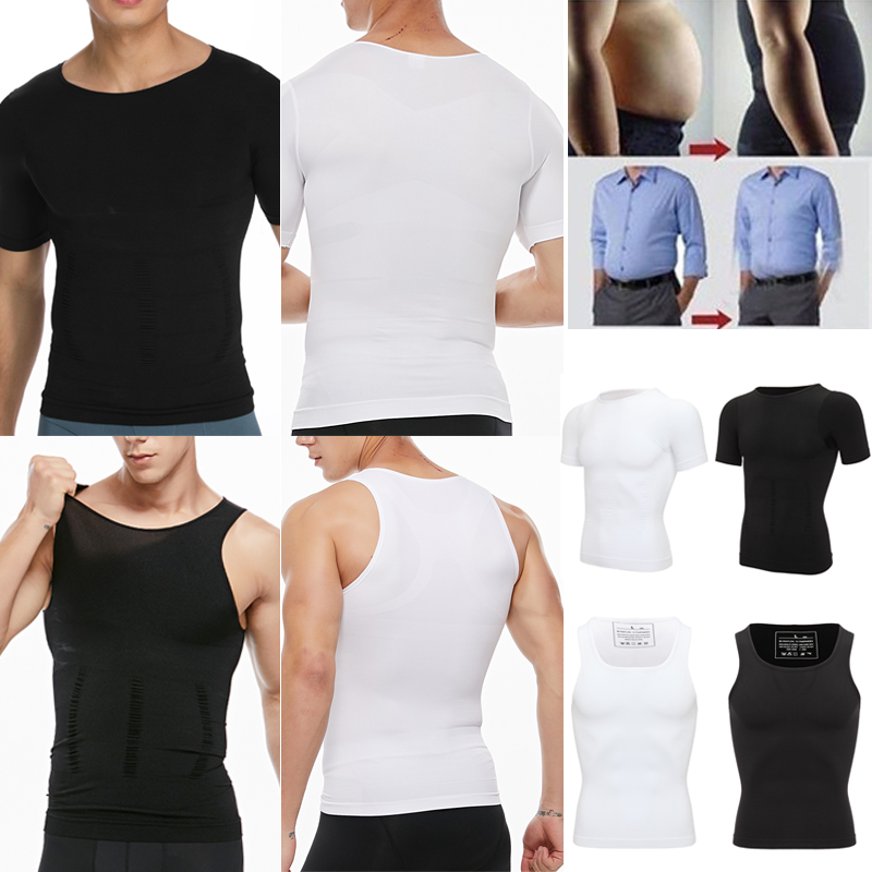Men Body Shaper Slimming Shirt Kompressionsweste Tanktops Mieder Unterwäsche DE
