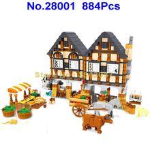 Ausini 884 peças cidade medieval feliz fazenda bloco de construção 7 brinquedo