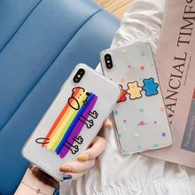Para iphone XR/XS MAX/6 s 6 7 8 Plus moda lindo perro Arco Iris/oso transparente funda de silicona para iphone 7 fundas para iphone 8(China)