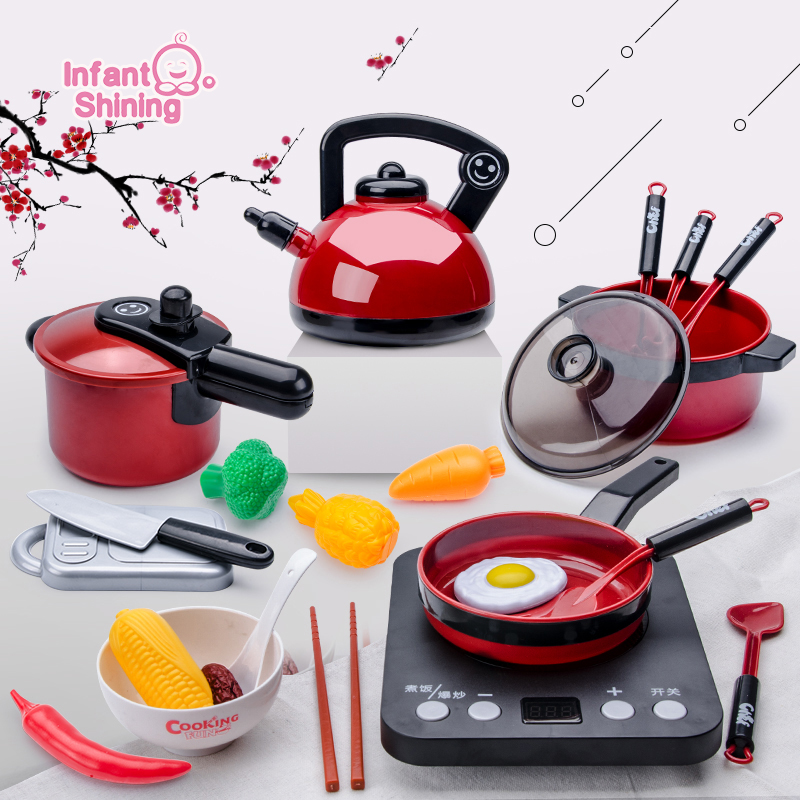 Infant Shining Kids Kitchen Toys Pretend Play Kitchen For Children Toddler Toys 2-6 Year Old Baby Gift Puzzle Play Kitchen Girls