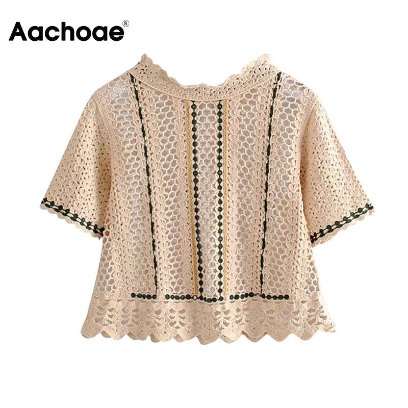 Aachoae Hollow Out Knitted Blouse Women Casual Short Sleeve Shirt Female Ruffled Collar Summer Chic Tops Blusas Mujer De Moda