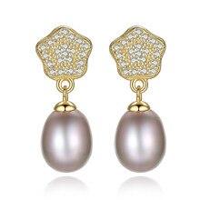 купить YUEYIN Sterling Silver Earrings 18K Gold Plated Real Nature 100% Pearl Earrings for Women Flower Earrings Charming Wedding Party