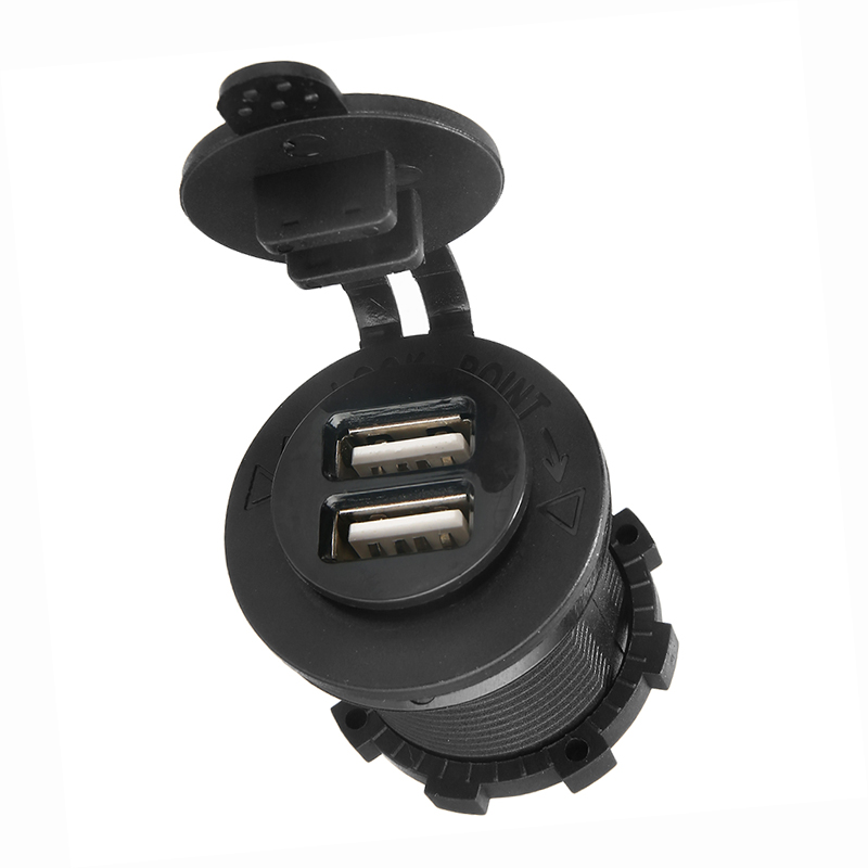 Black <font><b>Car</b></font> Cigarette Lighter Socket 2 USB Ports <font><b>Charger</b></font> <font><b>Power</b></font> <font><b>Adapter</b></font> DC 12V-24V image