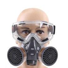 1 комплект 308 полулицевая респиратор Пылезащитная маска для покраски спрей пестициды Химический дым противопожарная защита с очками 18x7.5x15cm