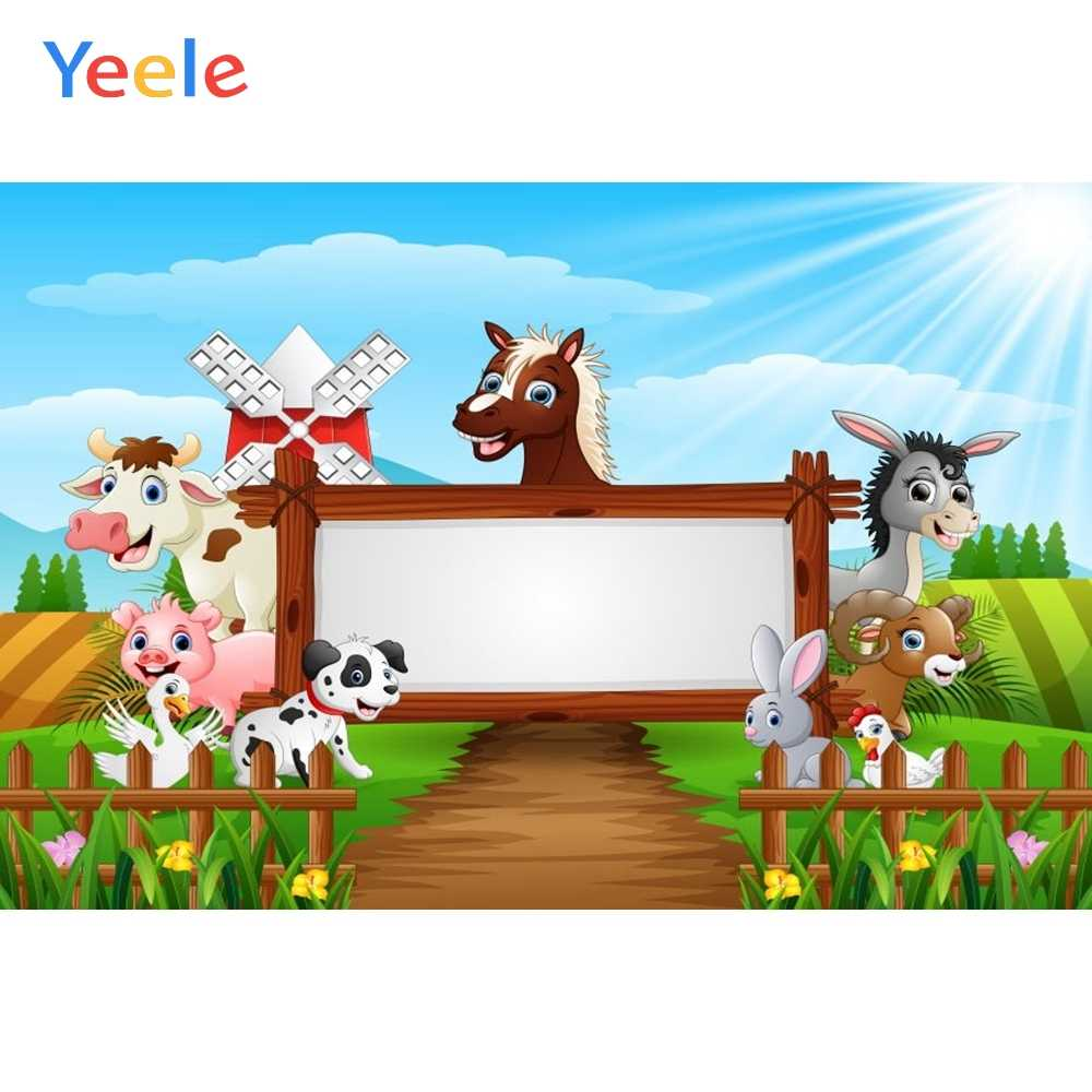 Yeele Cartoon Farm Animals Backdrop 8x10ft Baby Shower Party Photography Background Newborn Infant Baby Portrait Acting Show Photo Booth Photoshoot Props Digital Wallpaper