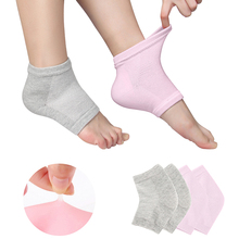 2Pairs Moisturizing Silicone Gel Heel Socks For Dry Hard Cracked Skin Open Toe Comfy Recovery Spa Socks Day Night Foot Care Tool cow pattern socks 2pairs