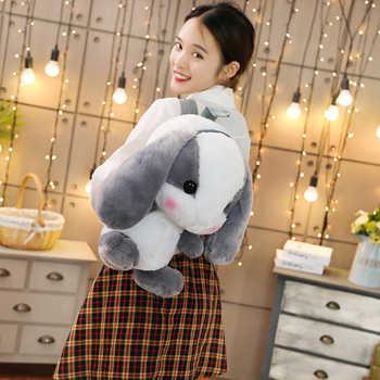 Lop Plush Backpack Adorable Stuffed Bunny Backpack Long Ears Rabbit Animals Backpack Kids Girls Shopping Bag Schoolbag 45cm