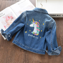 HKXN New Cartoon Unicorn Hole Denim Jacket Girl's 2-8 Years Old Children Lapel Outerwear Fashion Outfits Jacket Coat(China)
