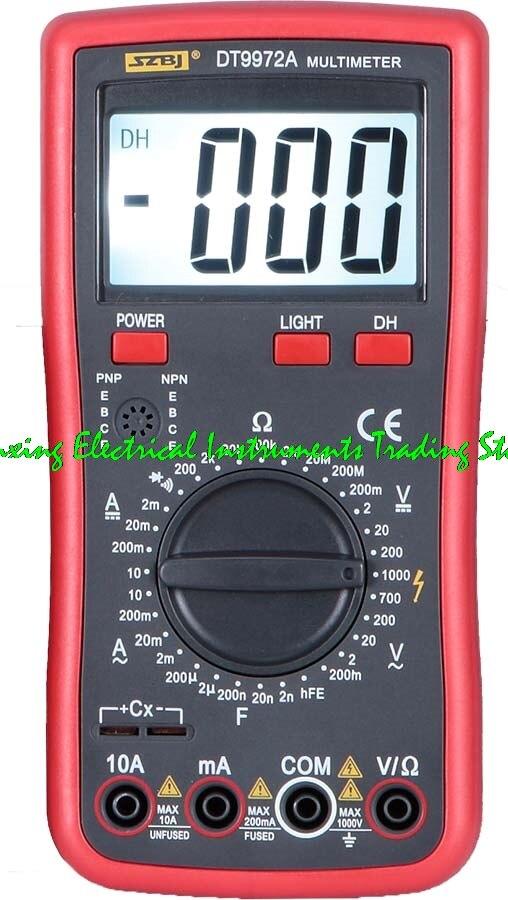 100% оригинал SZBJ DT9972A/DT9978A большой экран отображает мультиметр зуммера ЖК-подсветка