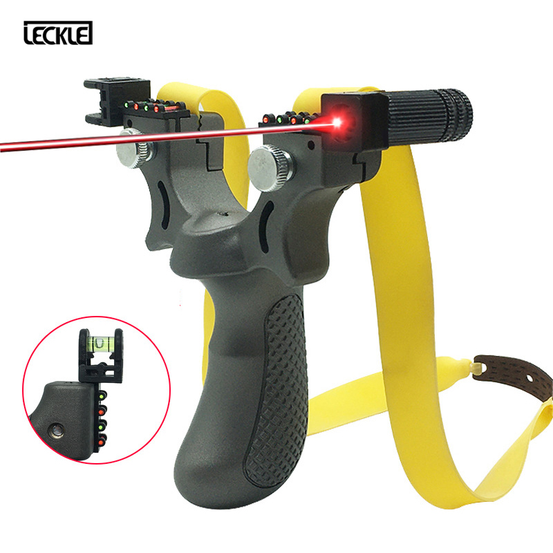Powerful Hunting Slingshot With Laser Light Sight Flat Rubber Band High Precision Sling Shot For Outdoor Hunting Shooting рогатк