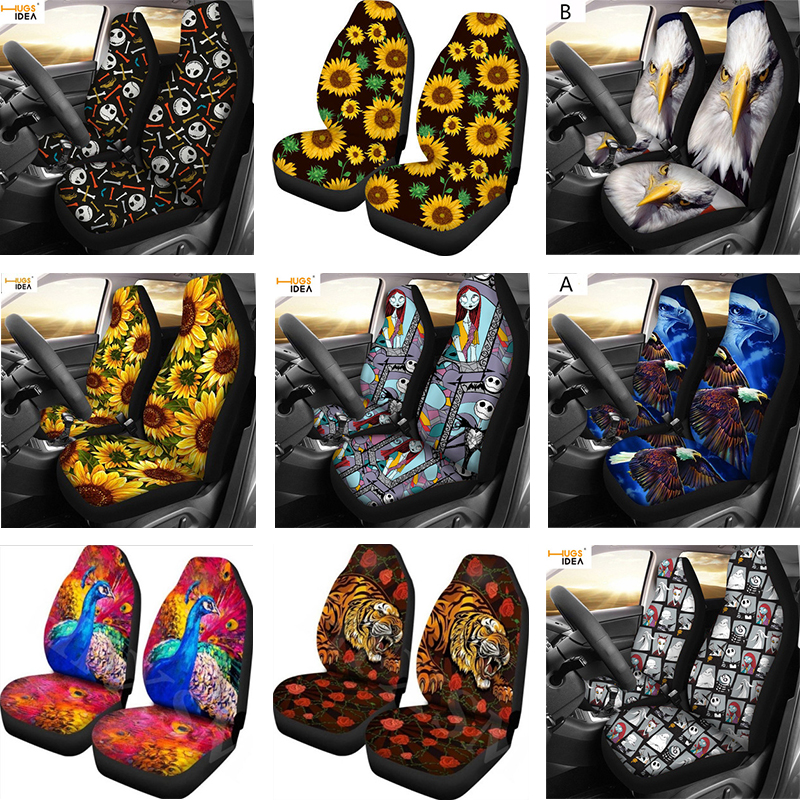 17 Styles 2pcs Car Seat Cover Sunflower Animal Skull Printing Four Seasons Universal Size Seat Covers Car Seat Protector
