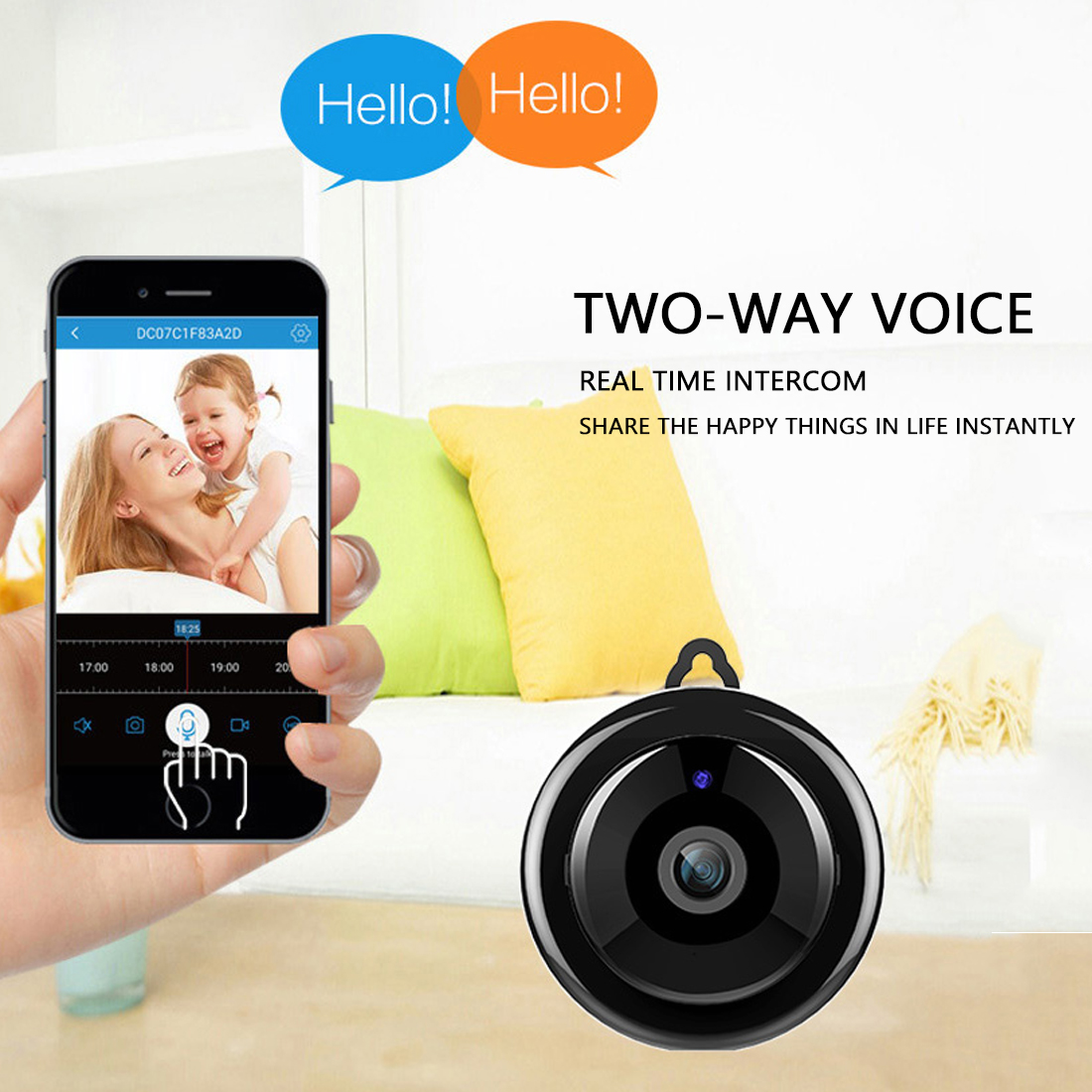 Mini WiFi 1080P Wireless Camera Home Security Camera IP CCTV Surveillance  Night Vision Motion Detection SD Card Slot Audio V380