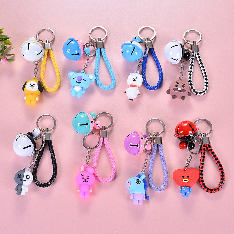 BTS Key Cap BTS Related Bell Key Cap Pendant Bulletproof Doll Key Chain V Fruit Bell