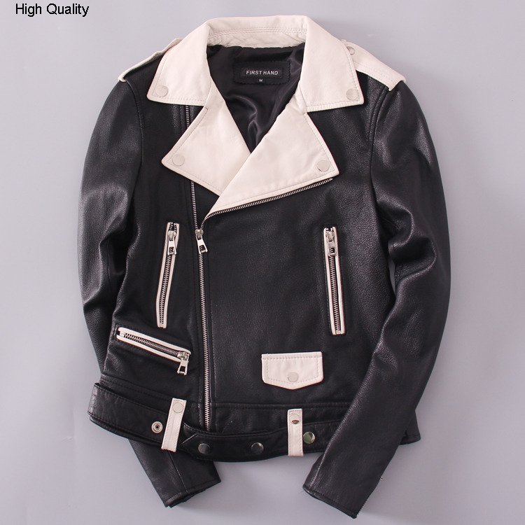 Genuine Leather Jacket Women's Motorcycle Clothing Lapel Slim Sheepskin Short Coat Black And White Color Autumn Winter Style