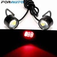 FORAUTO 2PCS Motorcycle Fog Lamp DRL Daytime Running Light DC 12V Rearview Mirror Decor Eagle Eye LED Reverse Backup Light