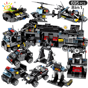 Image 2 - HUIQIBAO 695PCS 8in1 SWAT Police Command Truck Building Blocks City Helicopter Model Bricks Kit Educational Toys for Children