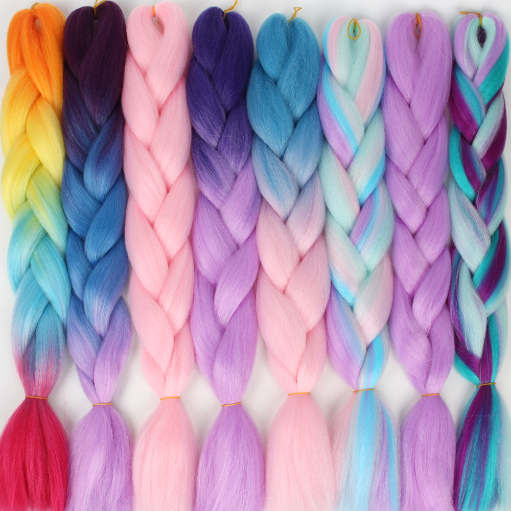 Pageup 24 Inches Long Jumbo Hair Crochet Braids Ombre Braiding Hair For Women Blue Pink Grey African Synthetic Hair Extensions