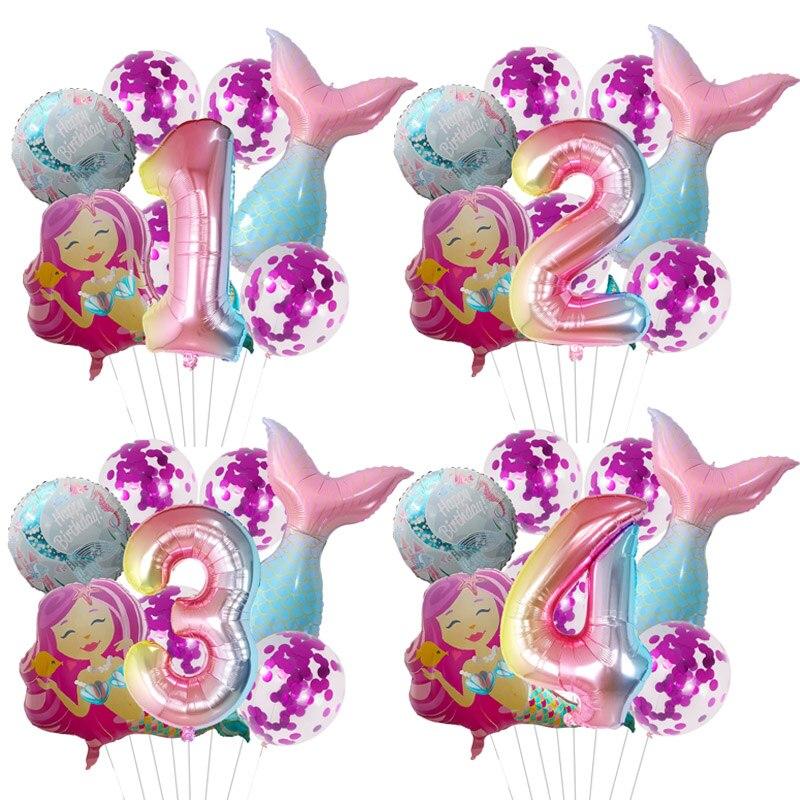 8 шт./лот Русалка Вечерние шары номер воздушные шары из фольги для дня рождения вечерние украшения Baby Shower Декор гелий Globos поставки