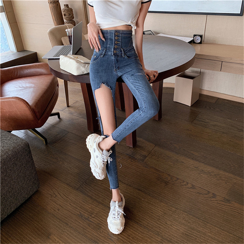 Real shot 2020 Korean version of the new fashion personality ripped high waist skinny stretch jeans women